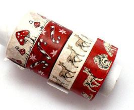 4er Set Masking Tape - Fliegenpilz, Reh Eichhörnchen, rot/weiß
