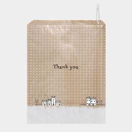 20 Papiertüten, Kraftpapier mit Häusern - Thank you