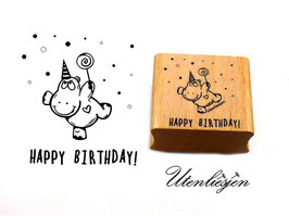 Motivstempel - Happy Birthday, Nilpferd