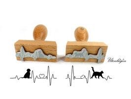 Stempel Herzschlag Hund oder Katze - Motivstempel