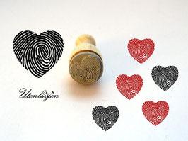 Stempel Herz mit Fingerabdruck - mini Stempel