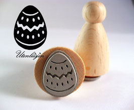 Motivstempel - Osterei mit Zacken auf Pöppel