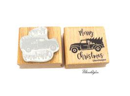 Motivstempel Merry Christmas Truck mit Tannenbaum