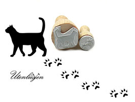 Katze und Spuren - Stempelset
