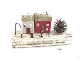 Treibholzdeko - Fischerhäuser  im Schnee