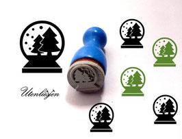 Stempel Schneekugel mit Tannen und Sternen - Ministempel