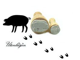 Schwein und Spuren - Stempelset