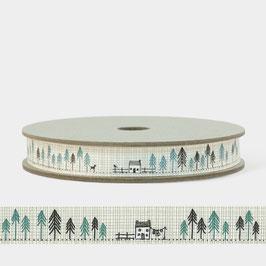 Grundpreis pro Meter = 1,50 € - 2 m Band Häuser mit Bäumen oder Häuser -