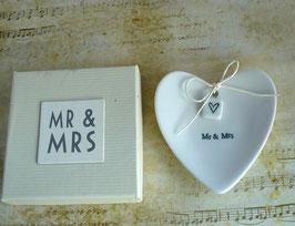Porzellan Ringschale Mr & Mrs