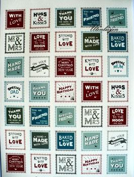 Grundpreis pro Stück = 0,07 € - 35 Vintage-Sticker with love