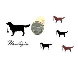 Hund mit Hundeleine - Midistempel