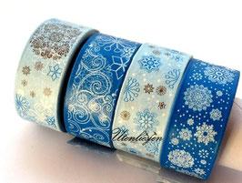 4er Set Masking Tape - Schneeflocken, Eiskristalle