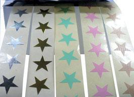 Grundpreis pro Stück = 0,08 € - 25 Aufkleber Sterne 1,5 cm in silber, gold, rosa, mint, Kraftpapier