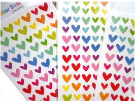 Grundpreis pro Stück = 0,01 € - 6 Bögen Herzen, Punkte oder Sterne Sticker