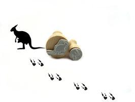 Stempelset Känguru mit Fußspuren  - Motivstempel