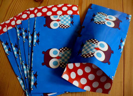 10 Papiertüten Eulen blau 7 x 14 cm
