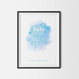 Baby Birth Print blau mit Ankern