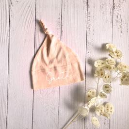 Baby Zipfelmütze rosa personalisiert