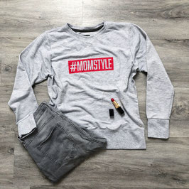 #MOMSTYLE Sweatshirt grey Flame Red