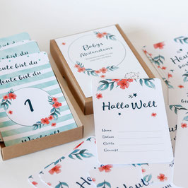 Flowery Baby-Karten Mint