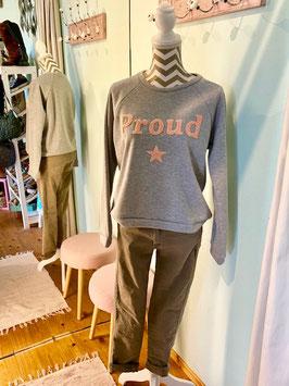 "Sweatshirt ""Proud"" grey/pink"