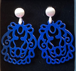"Ohrringe ""Wappen"" blitzblau/silber matt, Size M"