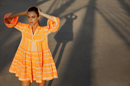 Devotion Dress Ella neon orange/off white