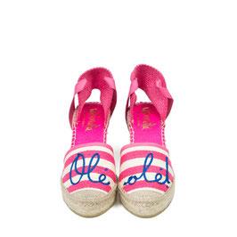 "Vidoretta Wedges ""Ole ole"" pink Stripes"