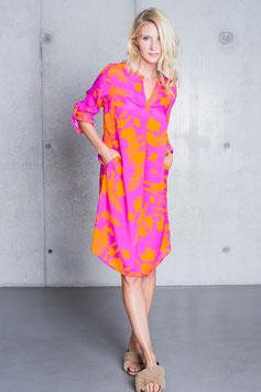 """Emily van den Berg Kleid midi """"Flowers"""" orange/pink"""
