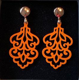 """Ohrringe """"Blatt"""" orange/rosegold"""