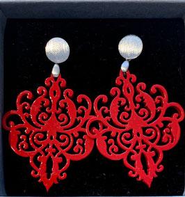 Ohrangerie Ohrringe Ornament red/silver matt