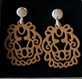 "Ohrringe ""Wappen"" brown/silver, Size S"
