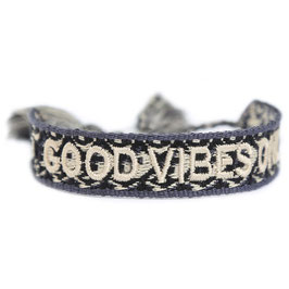"gewebtes Armband ""Good Vibes Only"" black/creme"