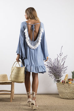 "Dress ""Indiana"" powderblue/white"