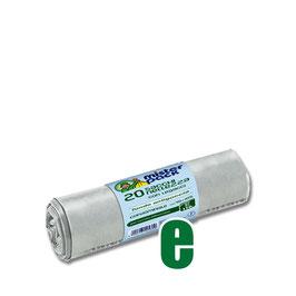 20 SACCHI NETTEZZA CON LEGACCI TRASPARENTE CM 70 X 105 LT 110
