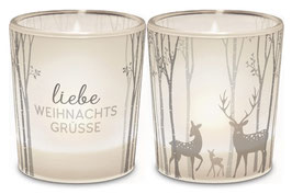 """1 Teelicht """"Liebe Weihnachtsgrüsse"""""""