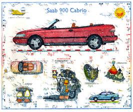 Farbradierung SAAB 900 Cabrio