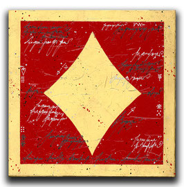 Spielkarten Symbol KARO - Rot / Blattgold