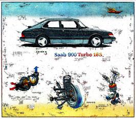 Farbradierung SAAB 900 TU 16S