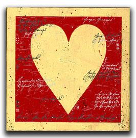 Spielkarten Symbol HERZ - Rot / Blattgold