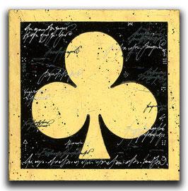 Spielkarten Symbol KREUZ - Schwarz / Blattgold