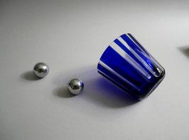 Rotter Glas - Blaues Kristallglas in Größe M / Dekor Scan