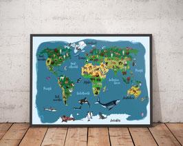 Poster - Weltkarte - Tiere rund um die Welt