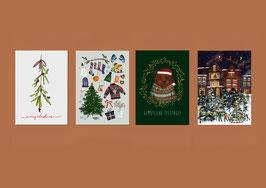 Weihnachtskarten Set- Merry Christmas - Weihnachtsstadt - Weihnachtsbär -Weihnachten