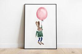 Poster - Fliegender Hase mit Ballons