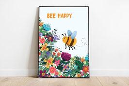 Poster - Bee Happy - Biene mit bunten Blumen