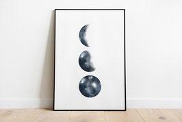 Poster - Mondphasen - 3 Monde