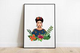 Poster - Illustration berühmte Künstlerin - Porträt Frau Pflanzen