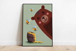 Poster - Bär mit Honig und Bienen - Happy