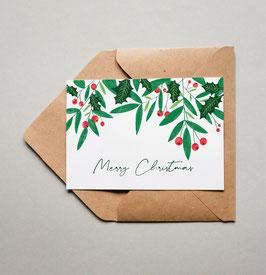 Weihnachtskarte - Grußskarte - Merry Christmas - Mistelzweig - Frohe Weihnachten